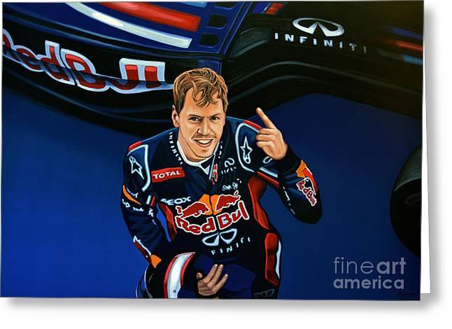 Fast Paintings Greeting Cards - Sebastian Vettel Greeting Card by Paul Meijering