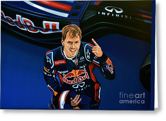 Famous Athletes Greeting Cards - Sebastian Vettel Greeting Card by Paul Meijering