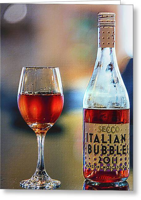 Red Wine Digital Art Greeting Cards - Secco Italian Bubbles Greeting Card by Bill Tiepelman