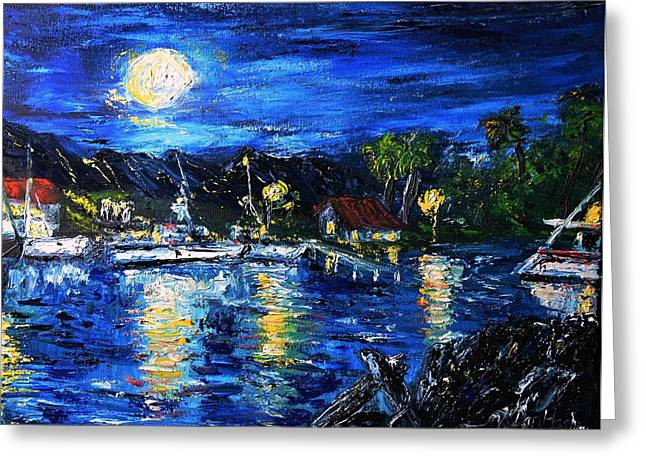 Pallet Knife Greeting Cards - Secluded Harbor Greeting Card by Dan Harshman