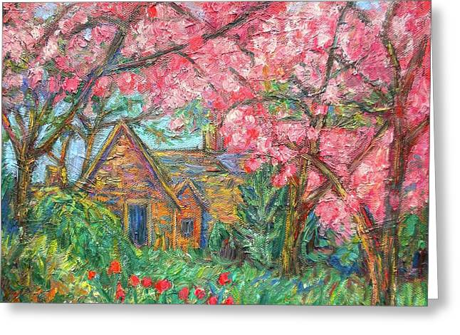 Cherry Blossoms Paintings Greeting Cards - Secluded Home Greeting Card by Kendall Kessler