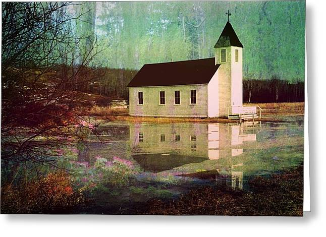 Light Gray Turquoise Greeting Cards - Secluded Sanctum  Greeting Card by Shirley Sirois