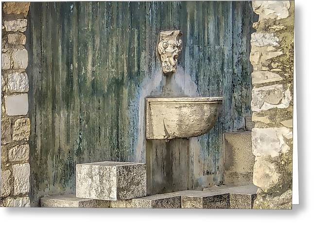 Bacchus Greeting Cards - Secluded Water Fountain of Old World Portugal Greeting Card by David Letts