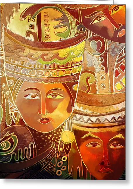 Asian Art Greeting Cards - Second Face Greeting Card by Corporate Art Task Force