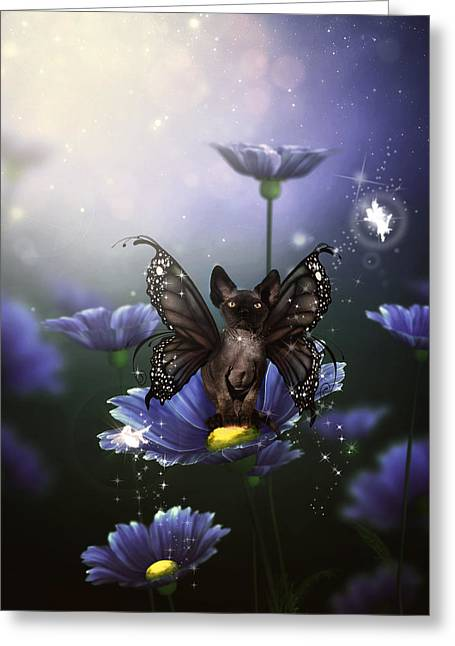 Sphynx Cat Greeting Cards - Second Faery Kitty  Greeting Card by Brittney Gobble