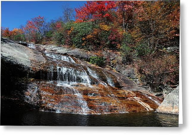 Second Movement Greeting Cards - Second Falls - Graveyard Fields on the Blue Ridge Parkway - North Carolina Waterfalls Photo Greeting Card by Matt Plyler