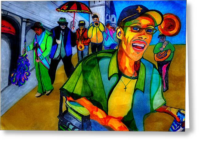 Disability Drawings Greeting Cards - Second Line Celebration Greeting Card by Jill Jacobs