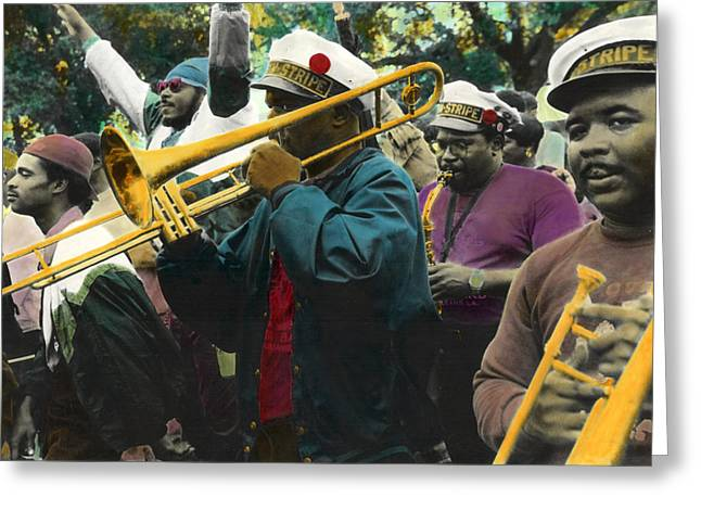 Marching Band Mixed Media Greeting Cards - Second Line Euphoria Greeting Card by Ulf Sandstrom