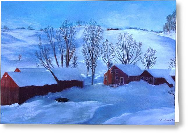 Snow Scene Landscape Pastels Greeting Cards - Second Snow Greeting Card by Vincent Mancuso