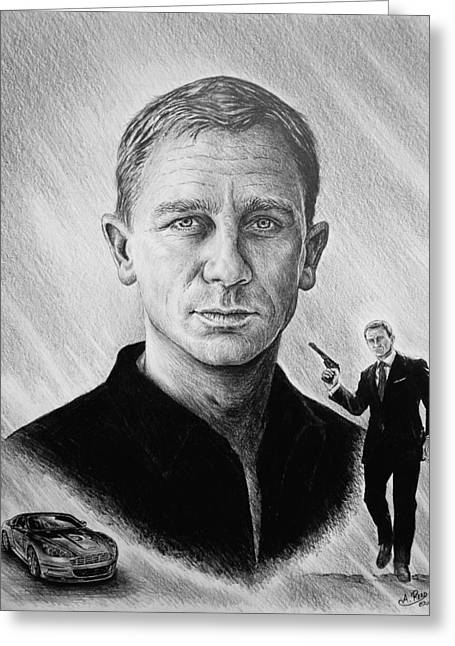 Movie Drawings Greeting Cards - Secret Agent Greeting Card by Andrew Read