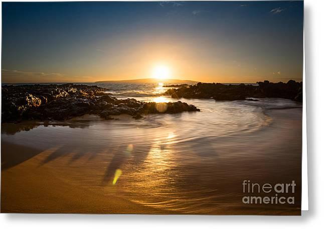 Secret Beach Greeting Cards - Secret Beach Sun Greeting Card by Jamie Pham