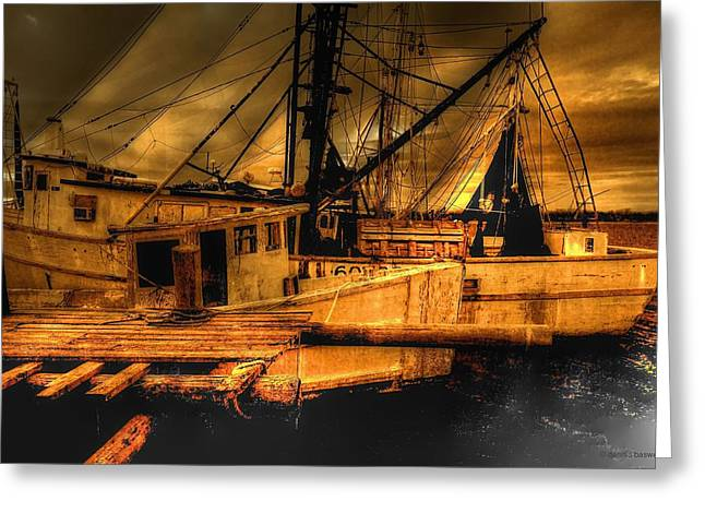 Fishing Boats Greeting Cards - Secret catch Greeting Card by Dennis  Baswell