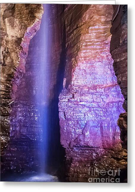 Subterranean Greeting Cards - Secret Caverns Falls Greeting Card by Anthony Sacco