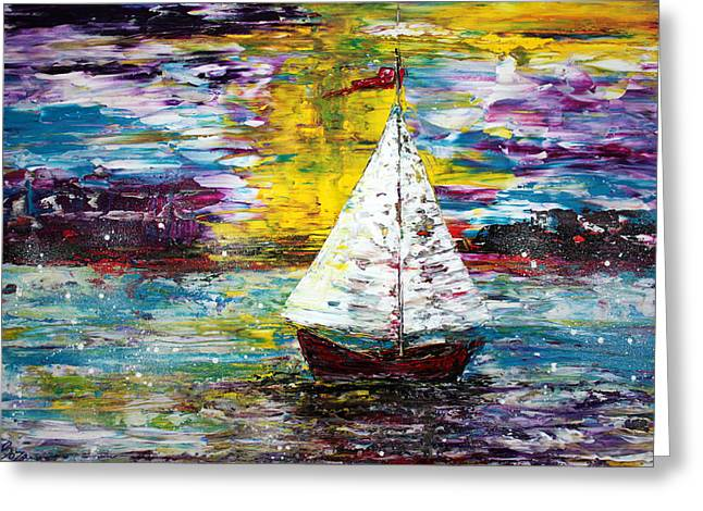 Blue Sailboat Mixed Media Greeting Cards - Secret Escape Greeting Card by Laura Barbosa