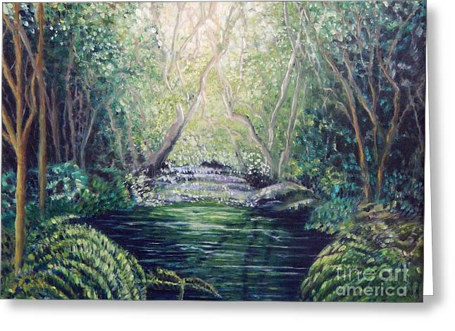 Water Filter Paintings Greeting Cards - Secret Forest Pool Greeting Card by Caroline Street