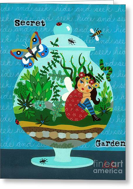 Secret Garden Fairy In A Terrarium Greeting Card by LuLu Mypinkturtle