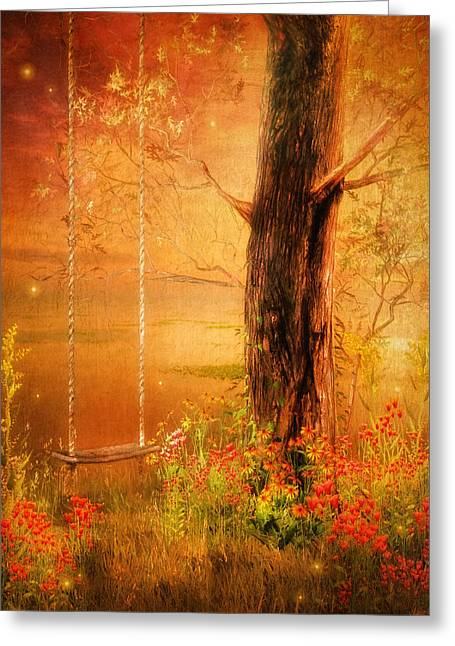 Warm Tones Digital Art Greeting Cards - Secret Gardens Fantasy Greeting Card by Georgiana Romanovna