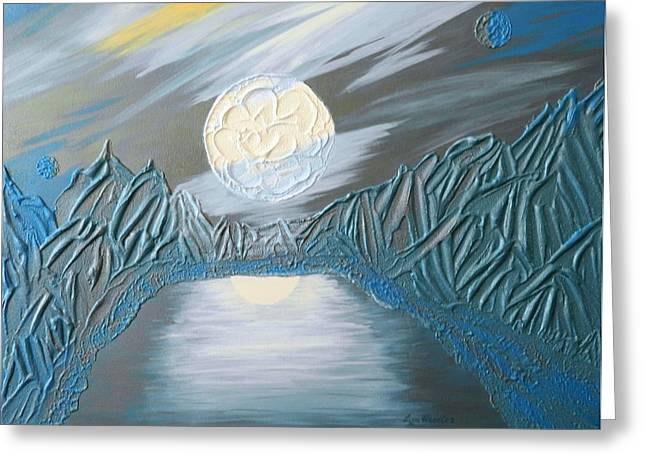 Contemporary Art Reliefs Greeting Cards - Secret Lagoon Greeting Card by Liza Wheeler