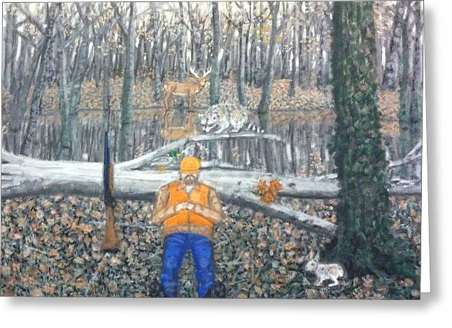 Photo Art Gallery Paintings Greeting Cards - Secret life of a hunter Greeting Card by Larry E Lamb