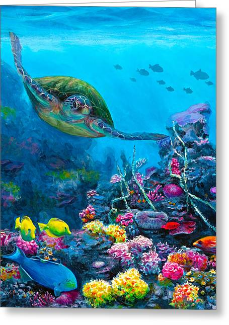 Recently Sold -  - Snorkel Greeting Cards - Secret Sanctuary - Hawaiian Green Sea Turtle and Reef Greeting Card by Karen Whitworth