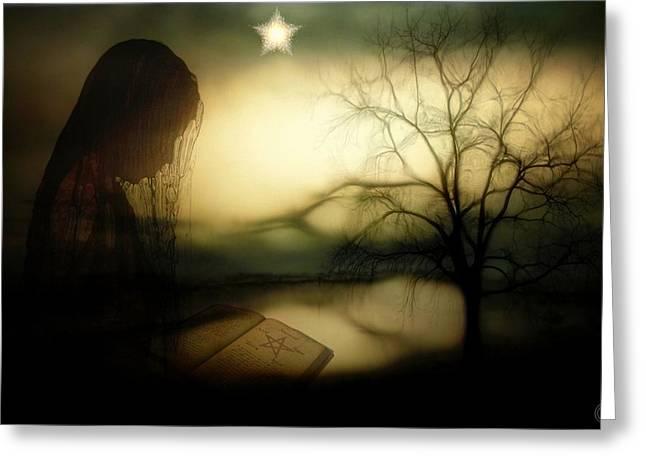 .star Like Pentagram In The Book Greeting Cards - Secret studies Greeting Card by Gun Legler
