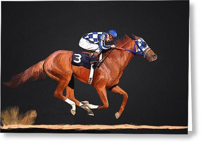 Race Horse Mixed Media Greeting Cards - Secretariat and Turcotte Greeting Card by GCannon