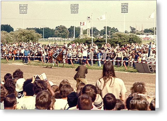 Recently Sold -  - Race Horse Greeting Cards - Secretariat Race Horse coming down to the finish line by himself to win the big race at Arlington R Greeting Card by Robert Birkenes