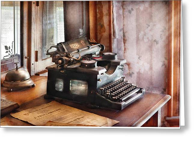 Typewriter Greeting Cards - Secretary - Secretaries Day Greeting Card by Mike Savad
