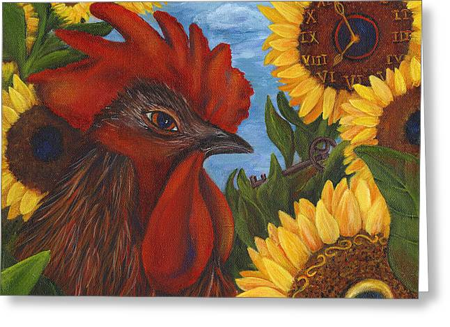 Rooster Kitchen Art Greeting Cards - Secrets Of The Garden ROOSTER Greeting Card by Debbie McCulley