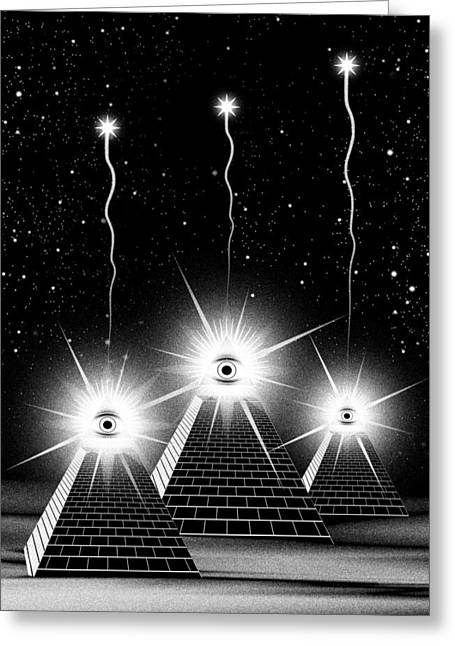 Constellations Digital Art Greeting Cards - Secrets of the Pyramids Greeting Card by Filippo B
