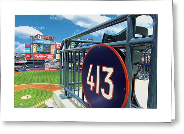 Citifield Greeting Cards - Section 413 Greeting Card by Allen Beatty