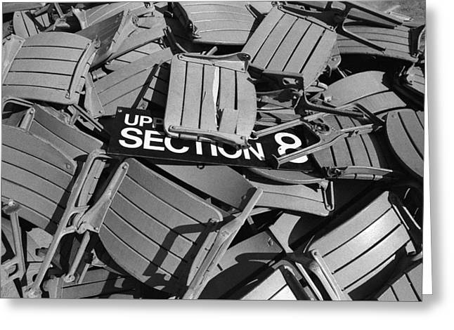 Baseball Stadiums Greeting Cards - Section 8 Yankee Stadium-1973 Greeting Card by Ross Lewis