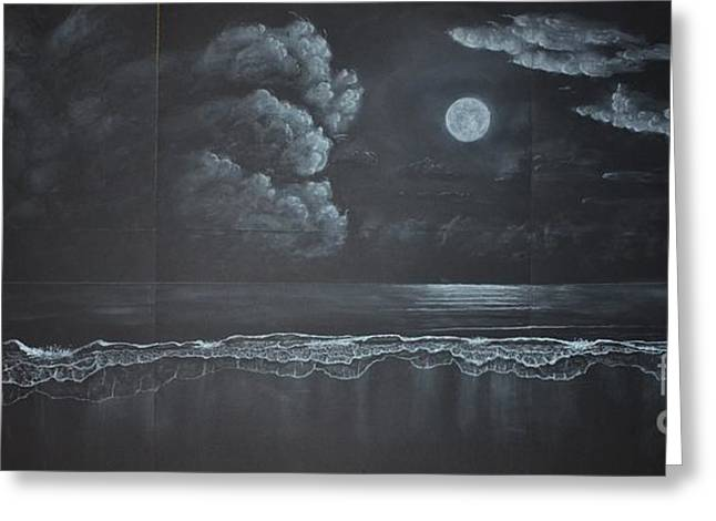 Moon Beach Drawings Greeting Cards - Sectional Beach Greeting Card by David Swope