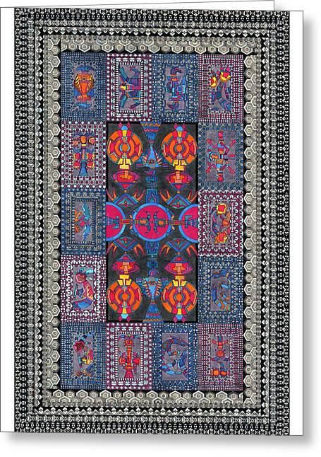 Mosaic Tapestries - Textiles Greeting Cards - Sectional Order Greeting Card by Lawrence Chvotzkin