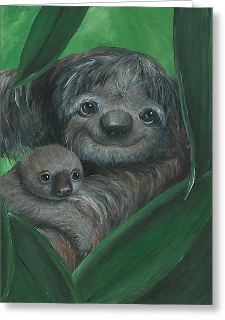 Sloth Paintings Greeting Cards - Secure Greeting Card by Christine StPierre