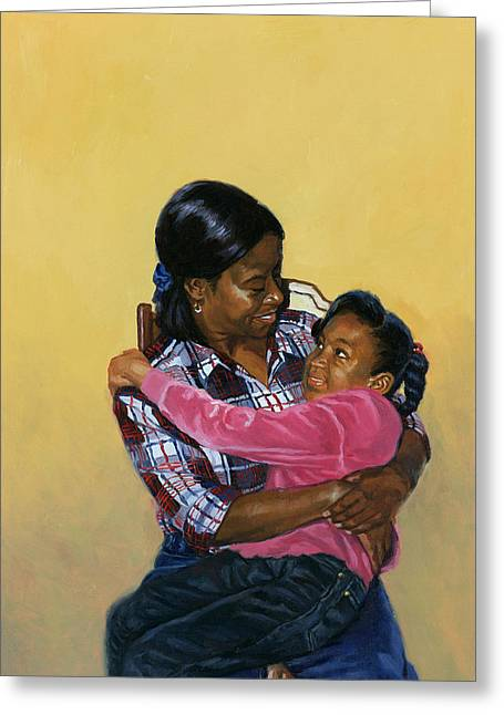 African-american Paintings Greeting Cards - Secure Greeting Card by Colin Bootman