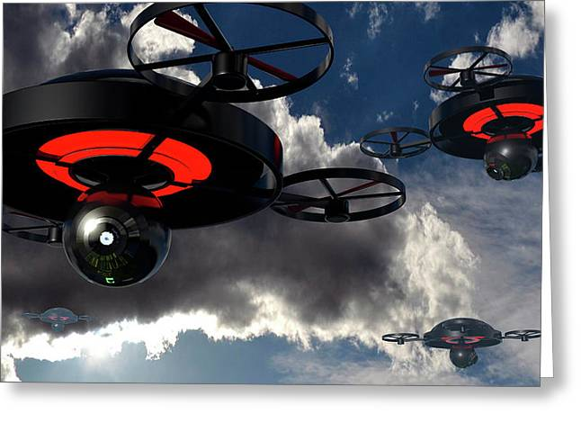 Security Drones Greeting Card by Christian Darkin