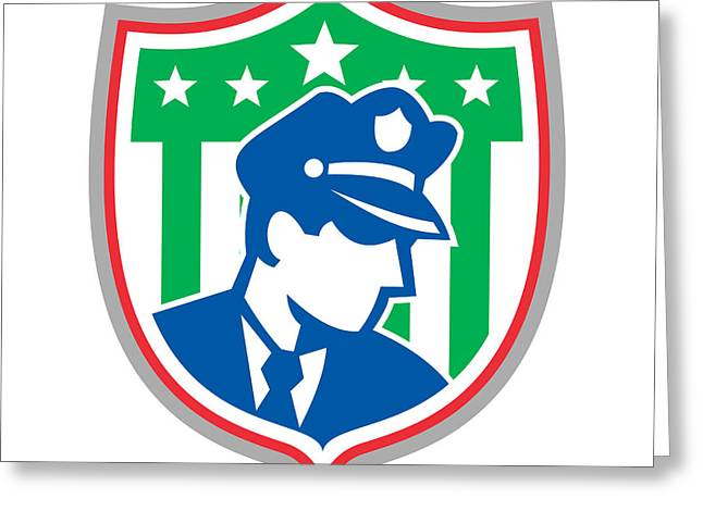 Police Officer Greeting Cards - Security Guard Police Officer Shield Greeting Card by Aloysius Patrimonio