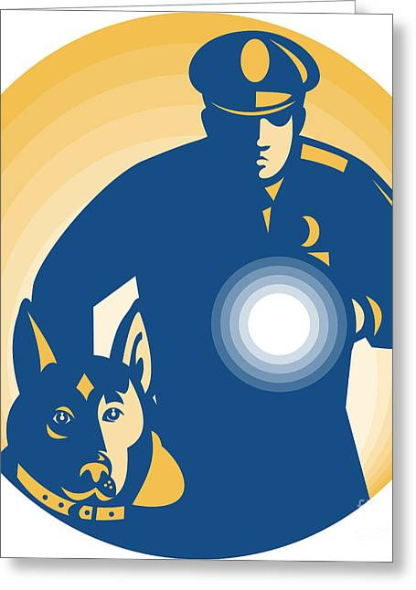 Police Dog Greeting Cards - Security Guard Policeman Police Dog Greeting Card by Aloysius Patrimonio
