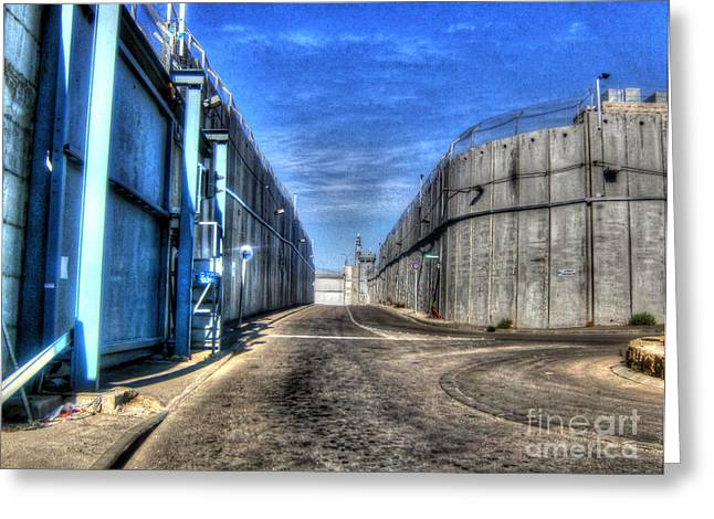 Old Western Photos Mixed Media Greeting Cards - Security Walls in Israel Greeting Card by Michael Braham