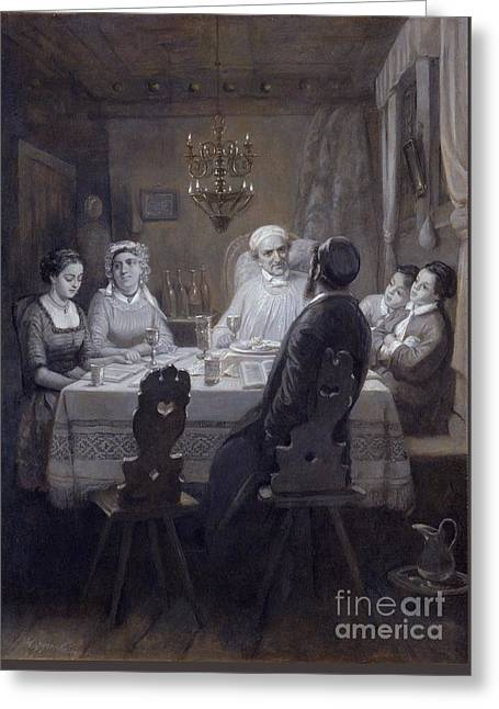 Seder - The Passover Meal Greeting Card by Moritz Daniel Oppenheim