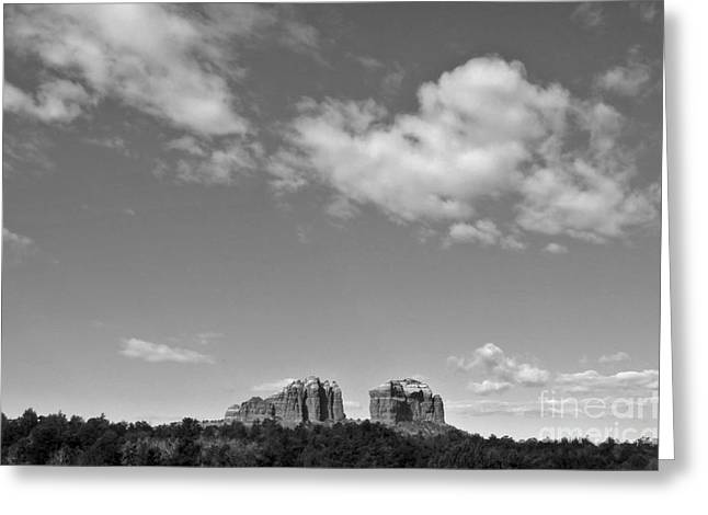 Sedona Arizona Big Sky In Black And White Greeting Card by Gregory Dyer