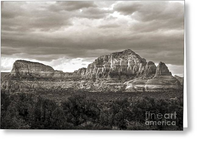 Sedona Arizona Black And White Mountains And Big Sky Greeting Card by Gregory Dyer