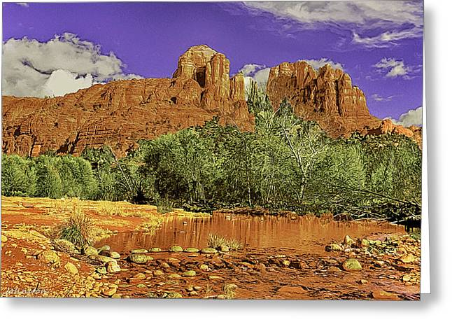 Red Rock Crossing Greeting Cards - Sedona Arizona Cathedral Rocks Oak Creek Crossing Greeting Card by  Bob and Nadine Johnston