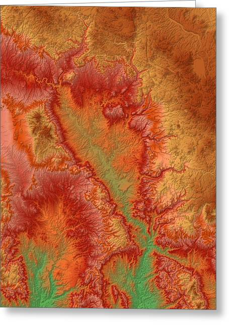 Geology Digital Art Greeting Cards - Sedona Arizona Map Art Greeting Card by Paul Hein