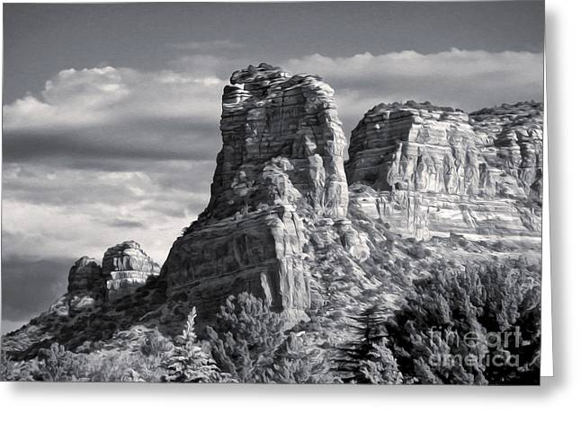 Gregory Dyer Greeting Cards - Sedona Arizona Mountain Peak - Black and White Greeting Card by Gregory Dyer