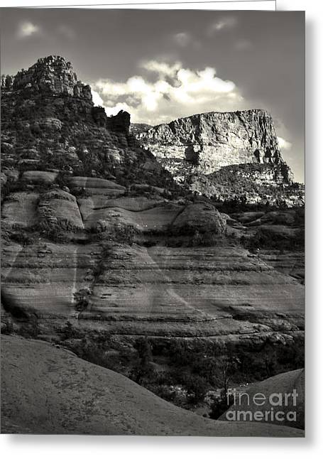 Sedona Arizona Mountains In Black And White - 02 Greeting Card by Gregory Dyer