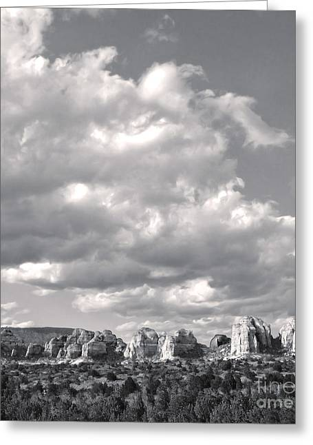Sedona Arizona Mountains In Black And White Greeting Card by Gregory Dyer