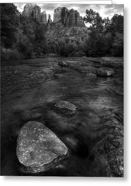 West Fork Greeting Cards - Sedona Cathedral Rock Black and White Greeting Card by Dave Dilli
