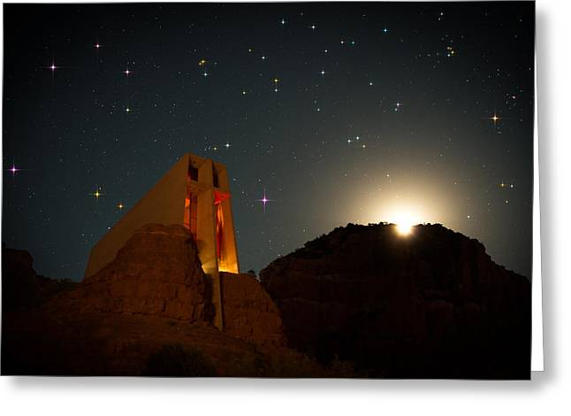 Night Photography Workshop Greeting Cards - Sedona Chapel Moonrise Vortex Greeting Card by Mike Berenson